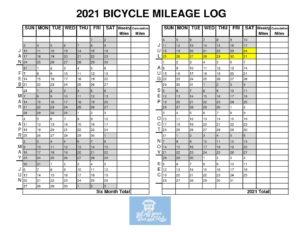 2021 Bicycle Mileage Log